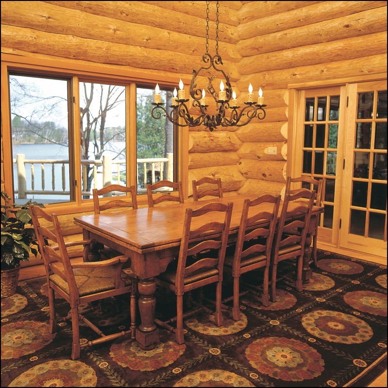 Log home dining rooms