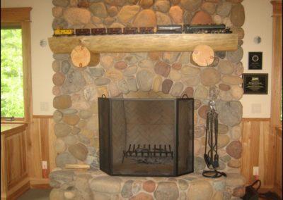 Luxury Log Home Stone Fireplace