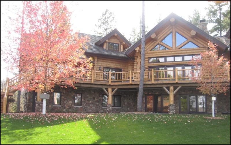 Luxury Log Home Wrap Around Deck