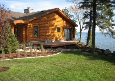 North Shore Log Home Deck