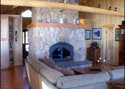 North Shore Log Home Fireplace
