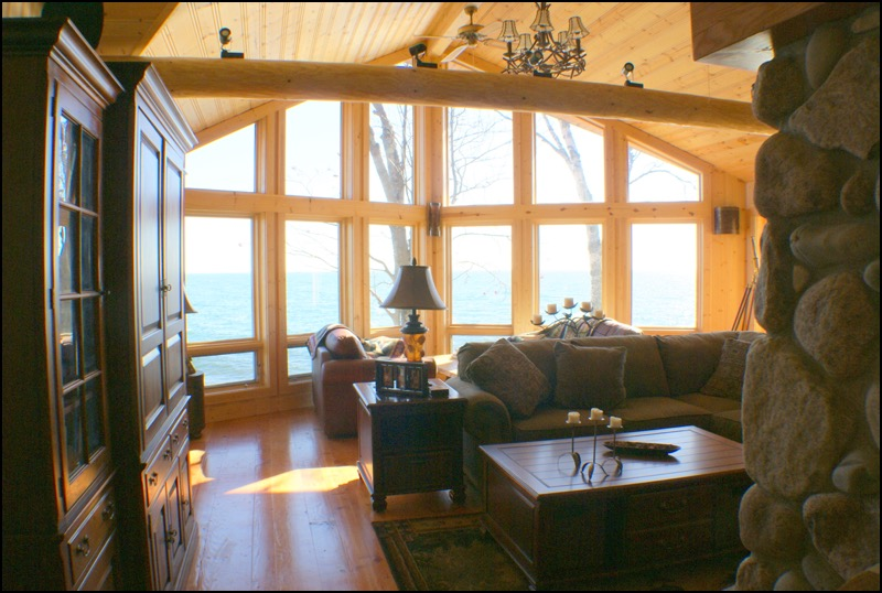 North Shore Log Home Great Room