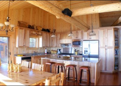 North Shore Log Home Kitchen Anderson Hammack Luxury Builder