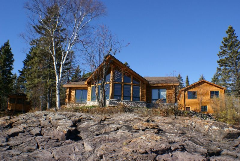 North Shore Log Home Landscape
