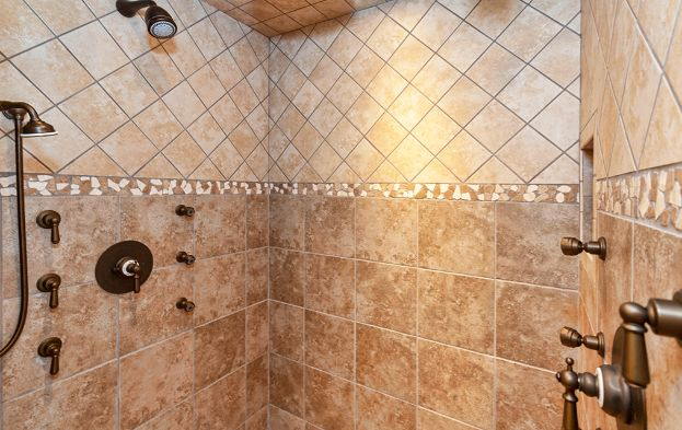 Stone Bathroom Shower Surround Multiple Heads