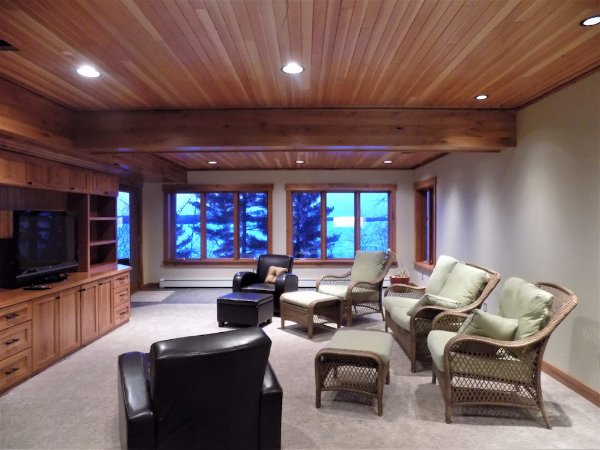 Basement Finished With Wood Ceiling Recessed Lighting