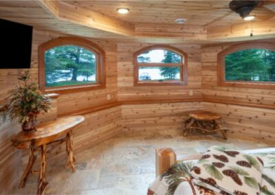 Beautiful Custom Woodwork With Three Window Room