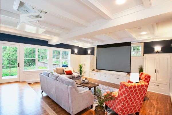 Custom Living Room Remodel With Projector Dropdown