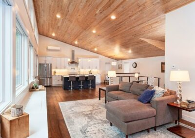 Custom Wood Ceiling With Modern Lighting