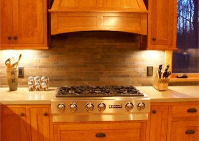 Custom Craftsmen Wood Stove Vent Kitchen