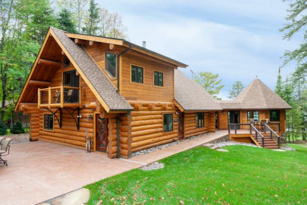 Log Home Timber Frame Stone Patio