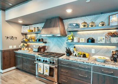 Open Kitchen Shelves Custom Stove Hood