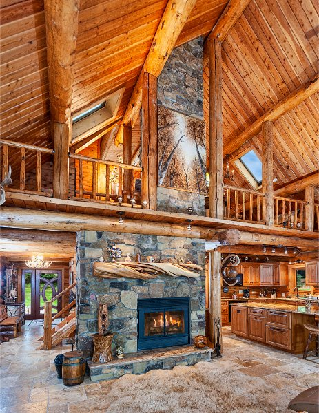 Stone Fireplace Tall Log Cabin
